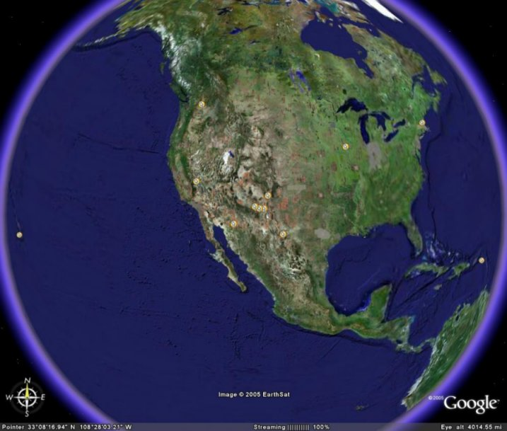 VLBA Sites On Google Earth - Earth map live satellite view